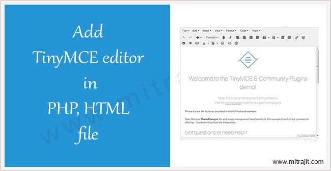 Add TinyMCE editor in PHP or HTML - Mitrajit's Tech Blog