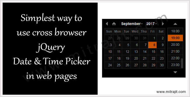 Simplest way to add cross browser jQuery date and time picker in web page