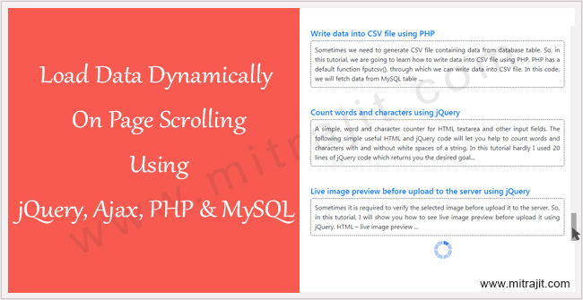 Load data dynamically on page scrolling using jQuery, Ajax, PHP, and MySQL
