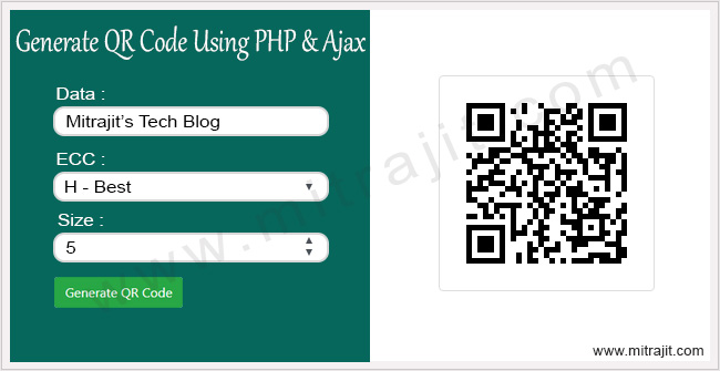 How to generate QR code using PHP and Ajax - Mitrajit's Tech Blog