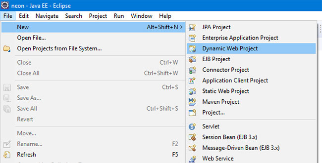 Create dynamic web project in Eclipse IDE