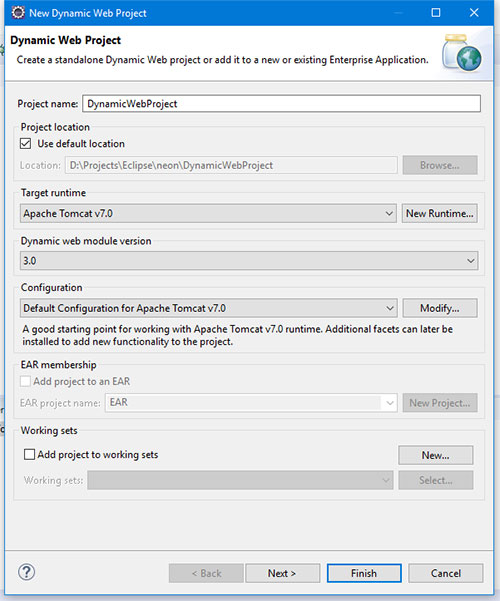 Create dynamic web project and its settings