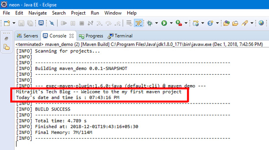After successfull build the Maven project the following output in the console
