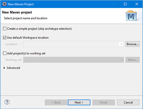 Maven project name and location settings in Eclipse IDE