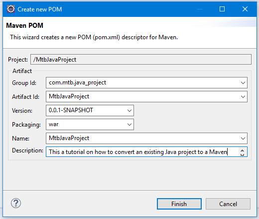 Maven project artifact settings for Group ID and Artifact ID