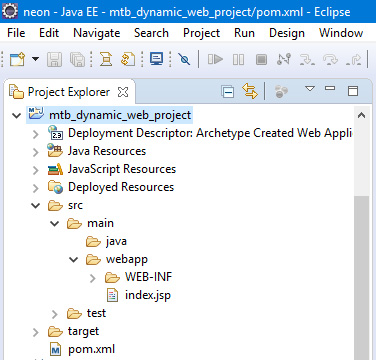 Project folder structure of newly created dynamic web project using maven in Eclipse IDE