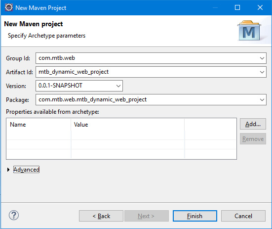 Specify archetype parameters while you create a dynamic web project using maven in Eclipse IDE