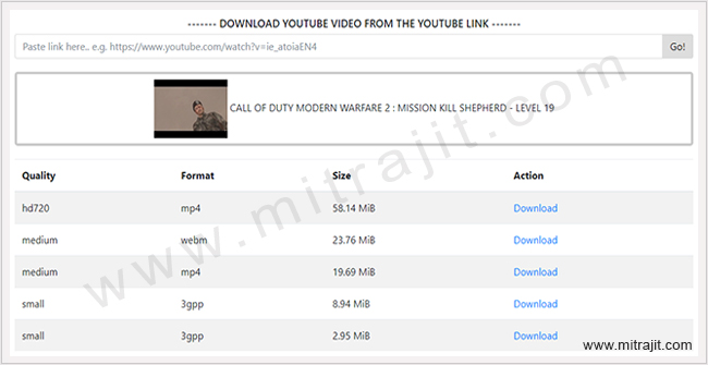How to download youtube videos using PHP script - Mitrajit's