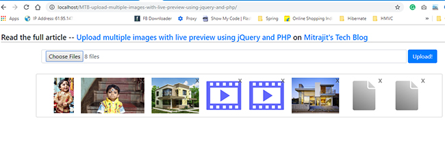 Live imgage preview before uploading to the server using jQuery, Ajax, and PHP