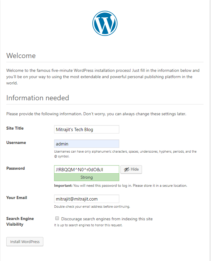 Additional information required during WordPress installation in WampServer