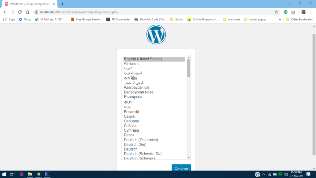 Select the language during wordpress installation