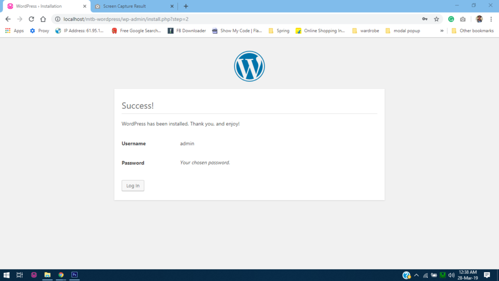 Success message after wordpress installed in WampServer